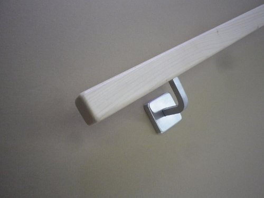 290cm 4 Edelstahl-Halter Quadratischer Eiche-Handlauf mit gewinkelten Vierkanthalter