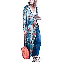 cardigan largo floral bohemio de las mujeres Tops de chal de gran tamaño de otoño primavera outwear Sannysis mujeres kimono largo chaqueta con cinturón