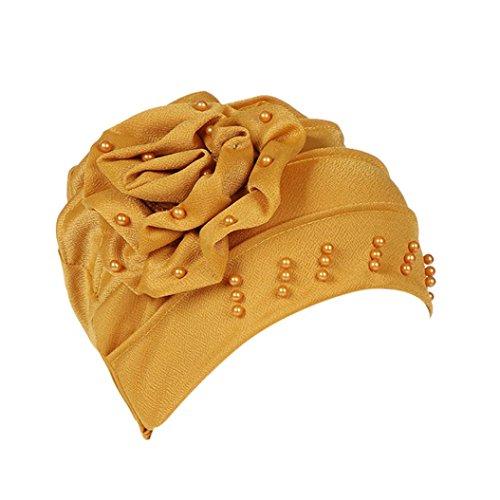 URSING Damen Kopftuch Muslim Ruffled Cancer Chemo Mütze Schal Turban Wrap Cap Stylish Elegan Blumen Indien Hut Multifunktionstuch Kopfbedeckung für Chemo, Krebs, Make up (Gelb) -