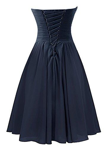 Find Dress Femme Sexy Robe de Soirée/Cocktail/Cérémonie Robe Col en Cœur Lacet sans Manches Courte en Mousseline de Soie Bleu
