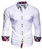 KAYHAN Homme Chemise Slim Fit Repassage facile, Manches Longues Modell - blanc - Taille M