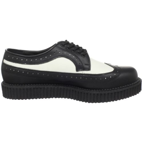Demonia Creeper-608, Chaussures à Lacets Homme Noir (Blk-Wht Leather)