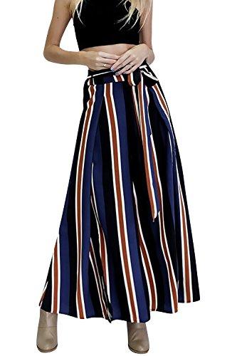 Dolamen Damen Hose, Lange Beinabschluss aus der Tasche, Damen Breitem Hosen Stretch, Perfekt für Freizeit, Schule und Büro Blau