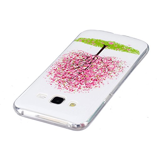 Coque Galaxy J7 2015, ISAKEN Coque pour Samsung Galaxy J7 2015 - Peinture Style Lumineux Luminous Etui PU Cuir Flip Magnétique Portefeuille Etui Housse de Protection Coque étui Case Cover avec Stand S cerisier