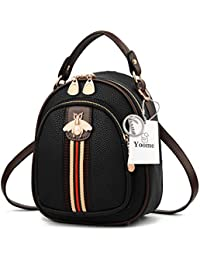 7ad6dd6d1a07 Yoome Women Designer Mini Clutch Bee Bag Shoulder Small Backpack Purse  Stylish Crossbody Handbags - Black