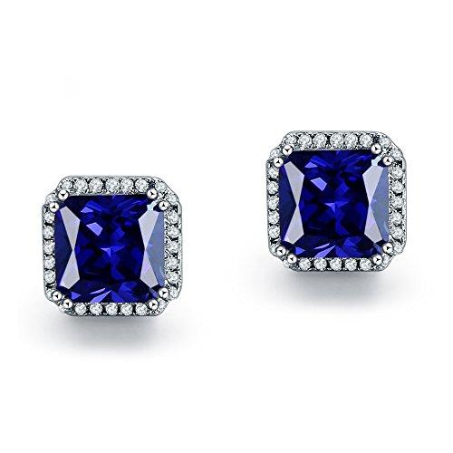 ling Silber 10mm Princess Cut Sapphire Cubic Zirkonia Halo Hengst Ohrringe (Sapphire Halo Ohrringe)