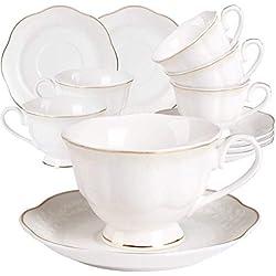 Set 6 Tazzine caffè Bianche Porcellana - 220ML/7OZ New Bone China Tazze Cappuccino con Piattino Sollievo e Bordo Dorato Vintage Servizio da tè