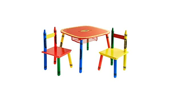 Crayola Kids Table u0026 Chairs 3PC Colourful Childrenu0027s Furniture SeT  sc 1 st  Amazon UK & Crayola Wooden Table And Chair Set: Amazon.co.uk: Toys u0026 Games