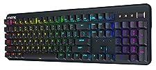 Clavier mécanique Fnatic Streak Pro Gaming Esports (Touches Cherry MX Rouge Silent, éclairage Multicolore LED (RGB), Repose-Poignet érgonomique, programmable) Disposition-FR