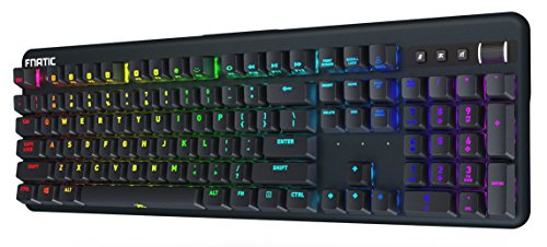 Fnatic Streak Pro Gaming mechanische E-Sports Tastatur (Cherry MX Silent Red-Tasten, Multi-Color RGB Beleuchtung, Ergonomische Handgelenkstütze, Programmierbar) DE-Layout