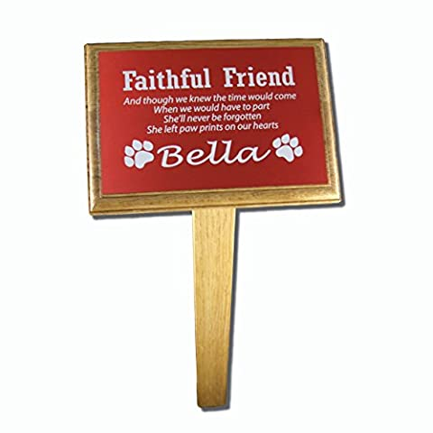 Personalised Pet Memorial Plaque (Red) with optional Oak Backing Board & Ground Stake (Plaque, Backing (Cat Targa Commemorativa)