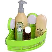 LINGHOU Deposito bagno cremagliera mensola bagno accessori ventose plastica 14.5 * 14.5 * 7.5 cm , 71-30 green
