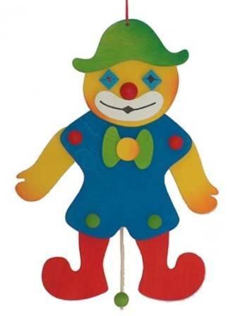 Hampelmann Clown bemaltem Holz