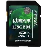 Kingston 128GB SDXC - Tarjeta de memoria SecureDigital de 128 GB (SDXC, conmutador protección contra escritura, clase: 10), negro