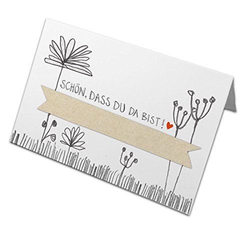 50 Tischkarten - Schön, dass du da bist | Vintage Design mit Blumen, Weiß Beige Grau | Namenskarten, Platzkarten zum Beschriften | Hochzeit, Geburtstag, Taufe, Kommunion | Recyclingpapier, CO2 neutral