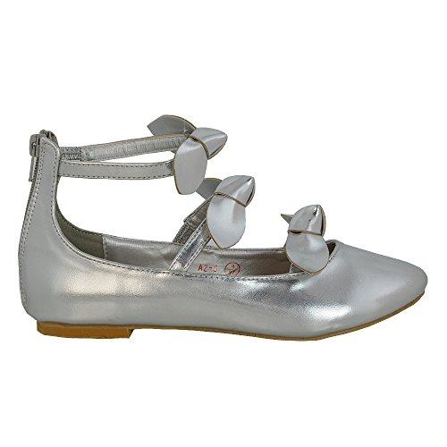 ESSEX GLAM Scarpa Donna Sintetico Ballerina Cinturino Caviglia Fiocco Argento metallizzato