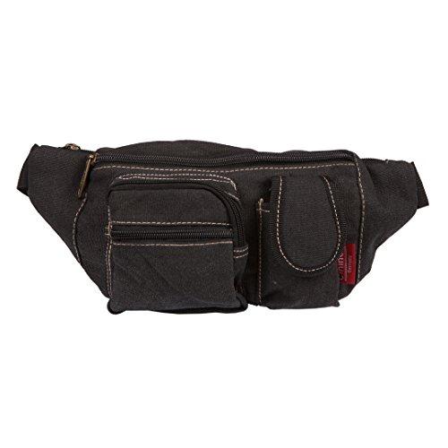 Canvas-Bauchtasche | Damen & Herren | Gürteltasche | Umhänge-Tasche | Designer Brusttasche Schwarz
