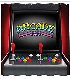ABAKUHAUS Videojuegos Cortina de Baño, Consola Arcade Videojuego Retro Diversión Joystick Botones Vintage 80's 90's, Material Resistente al Agua Durable Estampa Digital, 175 x 200 cm