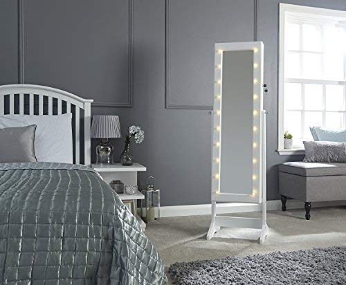 Amore White Mirrored Amoire with Hidden Jewellery Storage and Led Lights Best Price and Cheapest
