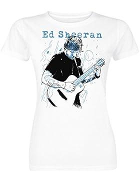 Sheeran, Ed Guitar Line Illustration Maglia donna bianco