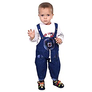 ahhaaaan Boy's Denim Dungaree with T-Shirt White_1-5 Years
