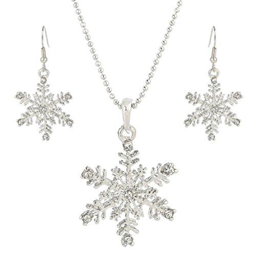 EVER FAITH® österreichischen Kristall elegant Schneeflocke Halskette mit Ohrring Haken Schmuck Set Silber-Ton ()