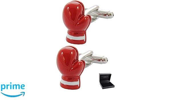 Couleur Rouge Sport Arbitre Coup de Poing Boutons de Manchette avec Boite-Cadeau Gants de Boxe COLLAR AND CUFFS LONDON Laiton