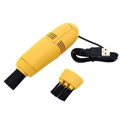 Jintime Mini Tragbare Computer Tastatur Reinigung Vakuum USB PC Laptop Pinsel Staub Reinigung Kit Desktop Reinigungswerkzeug für Tastatur/Drucker/Büro Elektronische Ausrüstung (Yellow) (Schaum-notebook-kits)