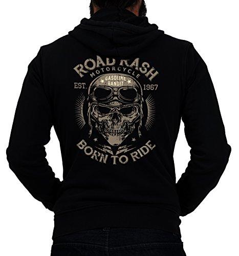 GASOLINE BANDIT® Design - Biker Racer Kapuzen-Jacke Zip-Hoodie: Road Rash-XXL (Hoodie Zip Biker)