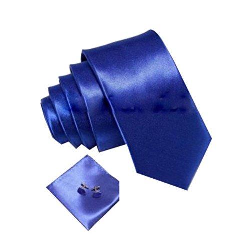 Krawatte Set Schmal Einstecktuch Knöpfe Manschettenknöpfe Hochzeit Edel Anzug Hemd (Blau)