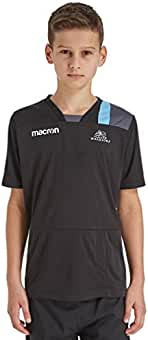 Macron Mens Glasgow Warriors 2018//19 Polycotton Short Sleeve T-Shirt Black