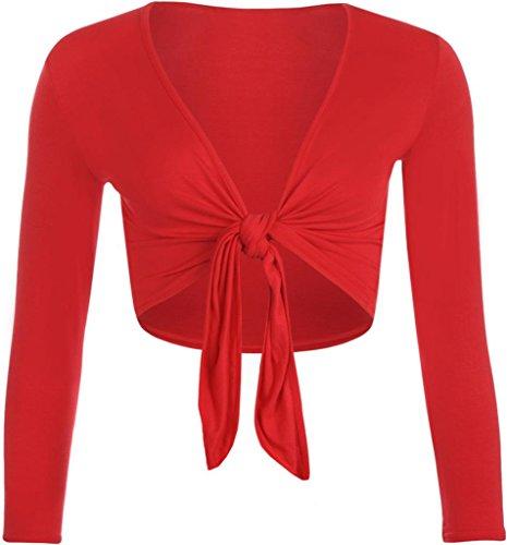 Commencer a maniche lunghe da donna per bolero crop anteriore Tie elastico cardigan top Rosso
