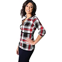 KRISP Damen Karierte Langarm Bluse mit Reißverschluss