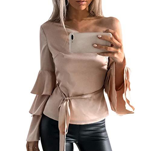 MEIbax Elegant Frauen Herbst Weg von der Schulter Langen Lotos Hülsen Hemd Damen Lose Oberseiten Bluse Oberteile Langarmshirt Tunika