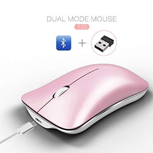 ZUKABMW T23 Mini Simple Silent Mouse Bluetooth 4.0 USB Dual Mode 2.4G1600dpi Optische Maus rosa Rose