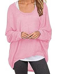 6e9759338adf ZIOOER New Arrival Damen Pulli Langarm T-Shirt Rundhals Ausschnitt Lose Bluse  Hemd Pullover Oversize Sweatshirt…