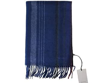 PAUL SMITH MEN'S SCARF NW WRAP STRIPE DARK BLUE CASHMERE MIX MADE IN ITALY