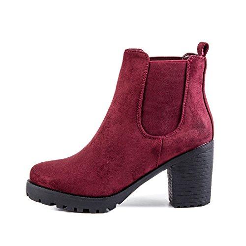 Stylische Damen Ankle Chelsea Boots Stiefeletten mit Blockabsatz in  hochwertiger Lederoptik Weinrot