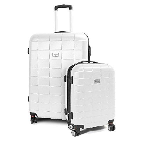 BERWIN Kofferset M + XL 2-teilig Reisekoffer Trolley Hartschalenkoffer ABS Teleskopgriff Modell Squares (Weiß)