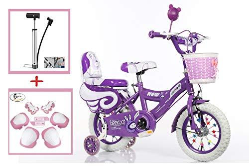 Geekbot Bicicletta bambino ragazza 12 pollici – Bambino 3-6 anni – Pneumatico gonfiabile – Vestibilità comoda – Piccola cablata – Pneumatico principessa con pneumatici bianchi - 3