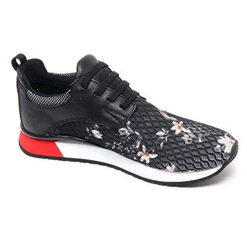 B6566 sneaker donna CRIME LONDON scarpa nero fiori shoe woman Nero