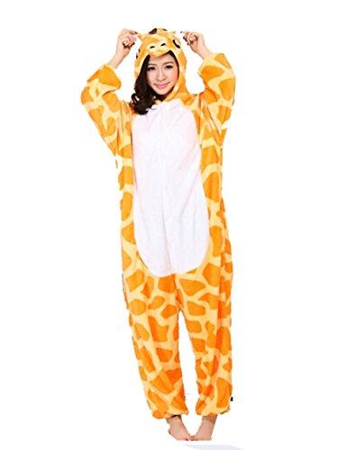 Warmer Flanell-Pyjama für Erwachsene, Unisex, Einteiler mit Tier-/Giraffe-Motiv Größe L blau