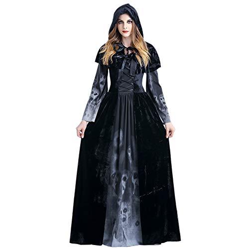LZDseller01 Cosplay Kostüme Hexenkleid, Frauen mit Umhang Unheimlich Sexy Kleid, Kapuze Kostüm Kleid Kleid Halloween Kostüm für Cosplay - Hooded Robe Kostüm Muster
