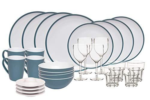 Melamingeschirr-Set 2TON Dusk Blue Campinggeschirr 4-Personen 28-teilig von Kampa und 4X Weingläser 4X Wassergläser+4xEierbecher