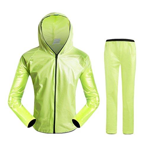 Dexinx All'aperto per Adulti in Bicicletta Frangivento Giacca Impermeabile + Pantaloni Raincoat Biciclette Pioggia Tuta Bici Pioggia Usura Traspirante Cappotto di Polvere Verde2 S