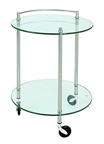 PEGANE Table pour desserte en Tube d'acier Coloris Optique INOX, Dim : Hauteur 63 cm