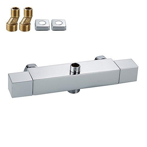 Mitigeur bain douche thermostatique Robinets moderne carré Chromé Sortie double valve thermostatique anti-brûlure Robinets