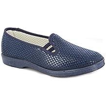 Zapatilla Mujer Copete, Marca DOCTOR CUTILLAS, en Lycra elástica Adaptable Color Azul Marino con