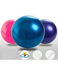 SIMYJOY antipinchazos y antideslizante Fitness/ejercicio pelota de Yoga 65cm con bomba de aire para Yoga Pilates(Rosa)