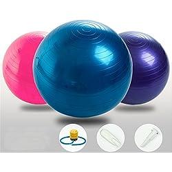 SIMYJOY antipinchazos y antideslizante Fitness/ejercicio pelota de Yoga 65cm con bomba de aire para Yoga Pilates(Azul)